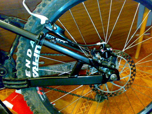 Rear disc brakes are shown here
